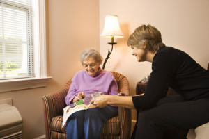woman in assisted living care
