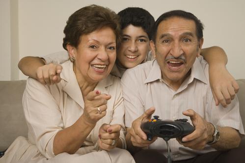 seniors playing video games